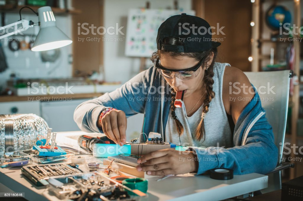 She has a passion for science stock photo