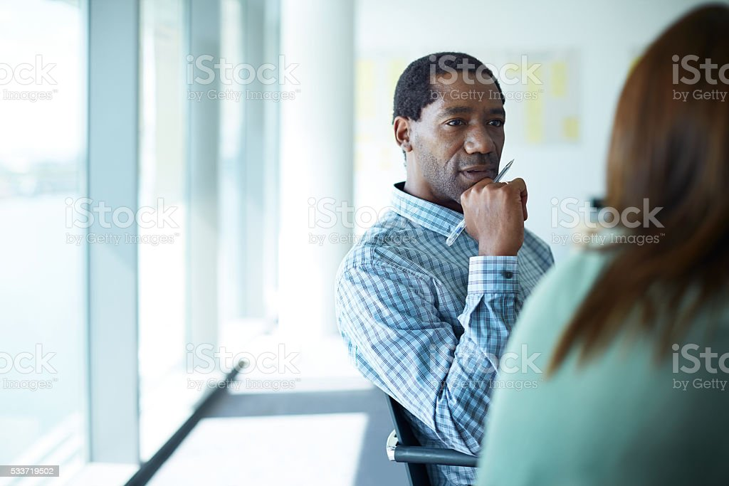 She has his full attention... stock photo