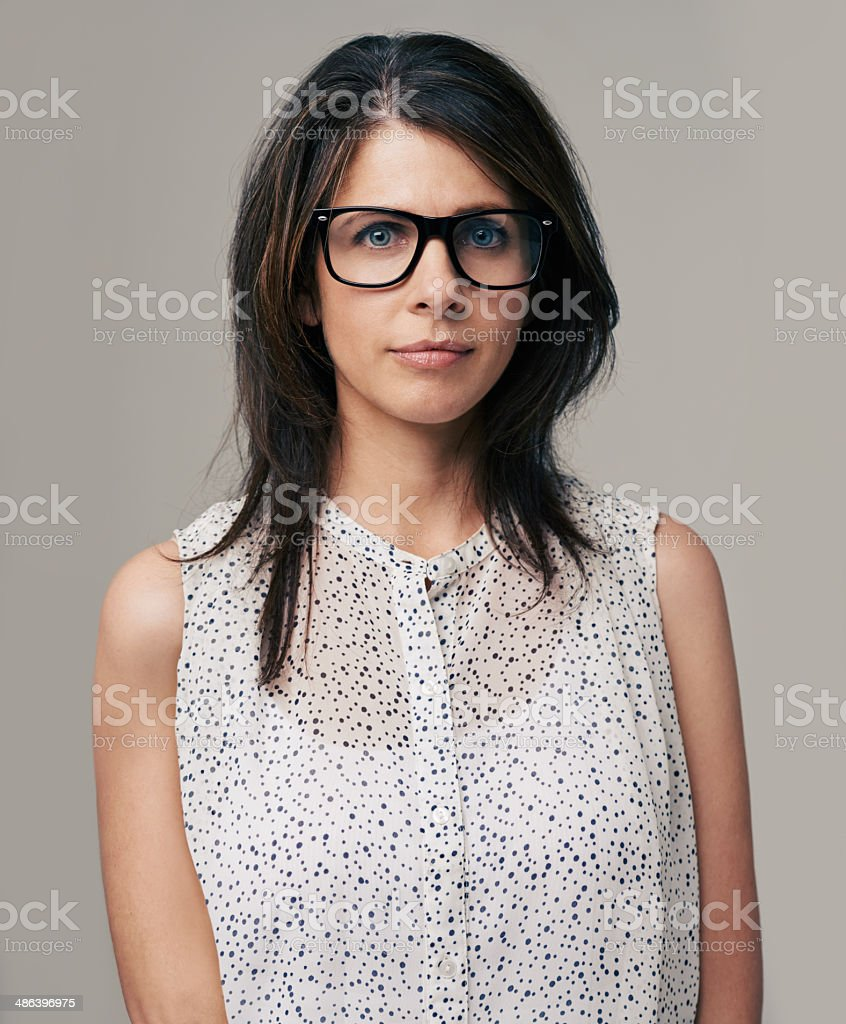 She has looks and brains stock photo