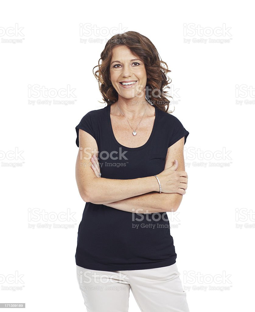 She has positive attitudes and a healthy outlook stock photo
