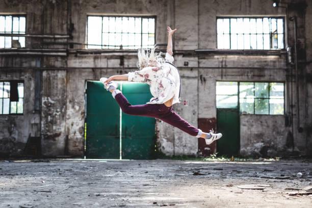 She is amazing break-dancer stock photo