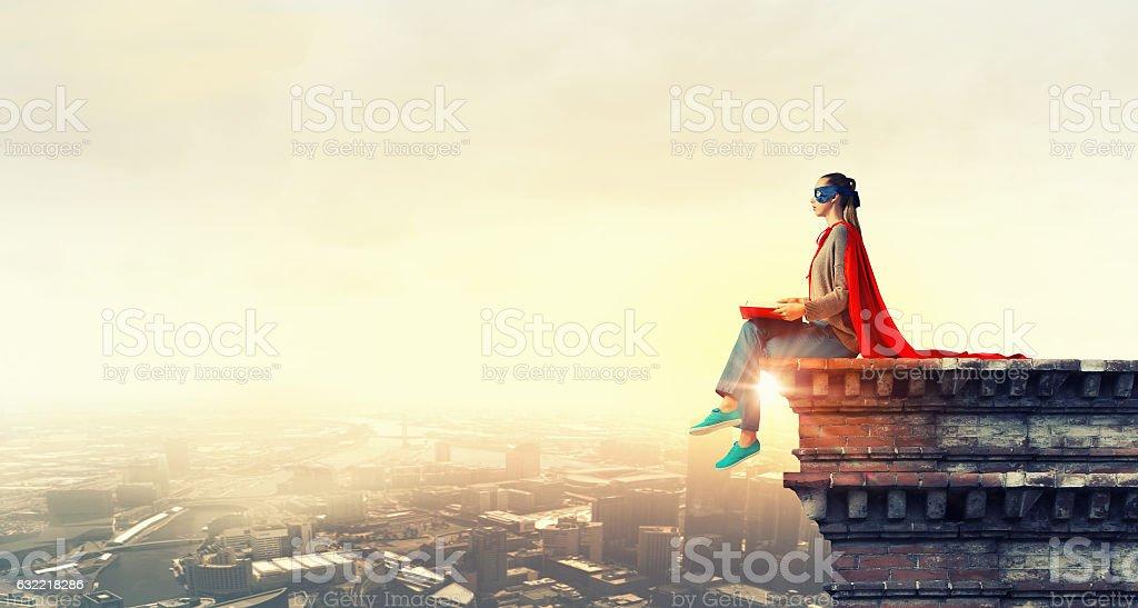 She is city guardian . Mixed media stock photo
