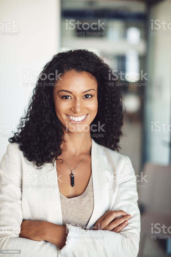 She is enjoying her new position at work stock photo