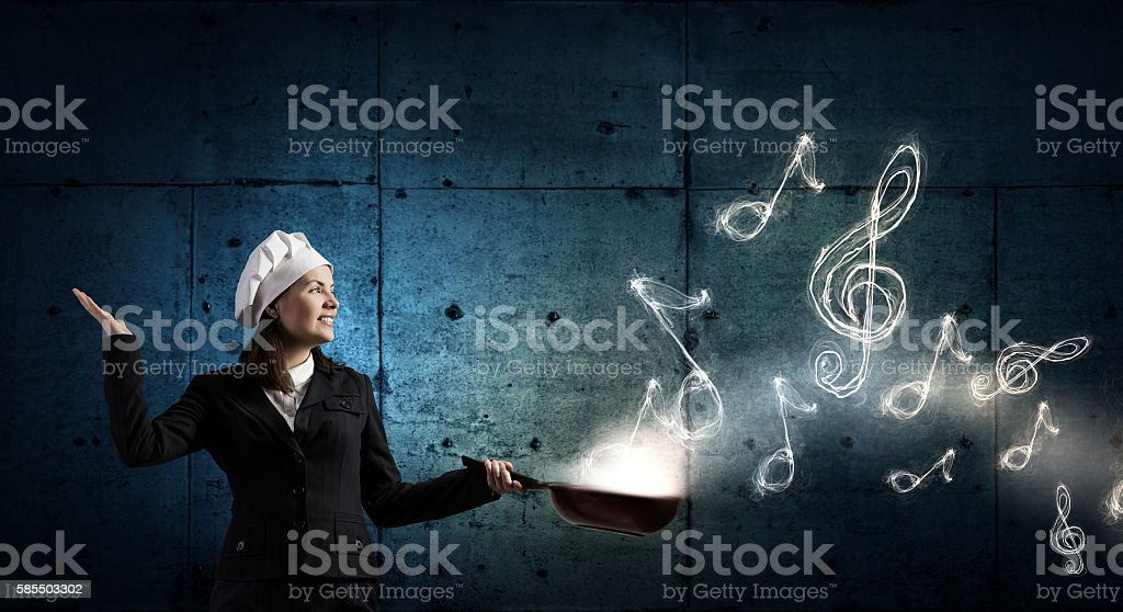 She is going to cook her idea . Mixed media stock photo
