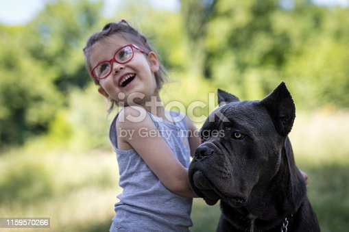 She is happy with her big dog
