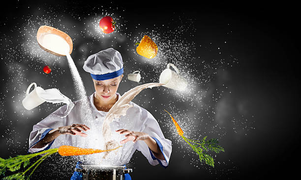 She is magician as cook . Mixed media stock photo