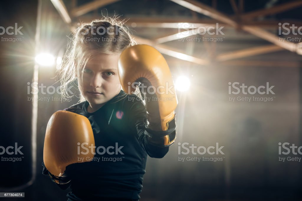She is ready to knock out her opponent! stock photo