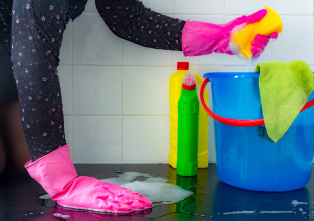 she is squeezing  a yellow sponge above bucket on the floor - bleach stock pictures, royalty-free photos & images