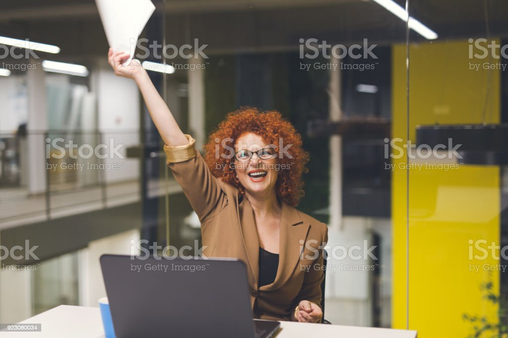 She is successful businesswoman stock photo