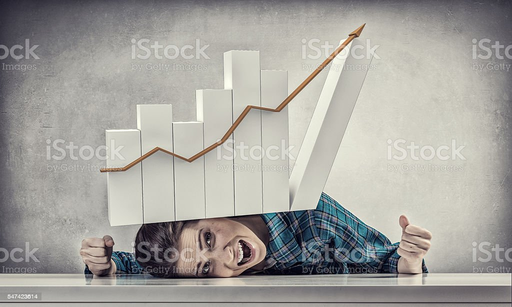 She is under pressure . Mixed media stock photo
