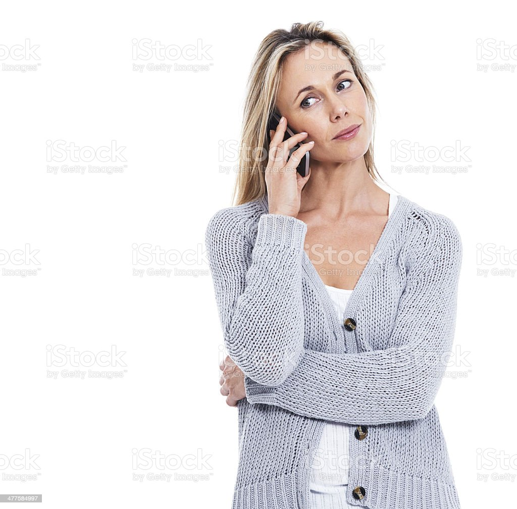 She isn't happy with the news she's hearing stock photo
