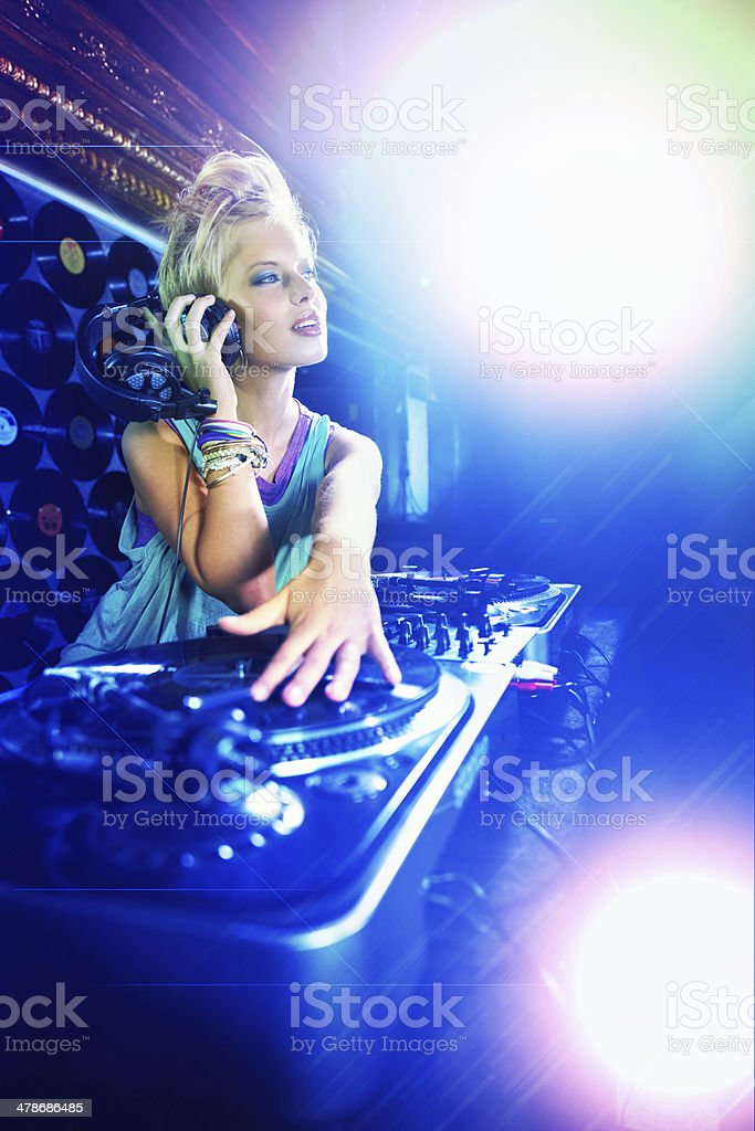 She knows all the right tunes to play stock photo