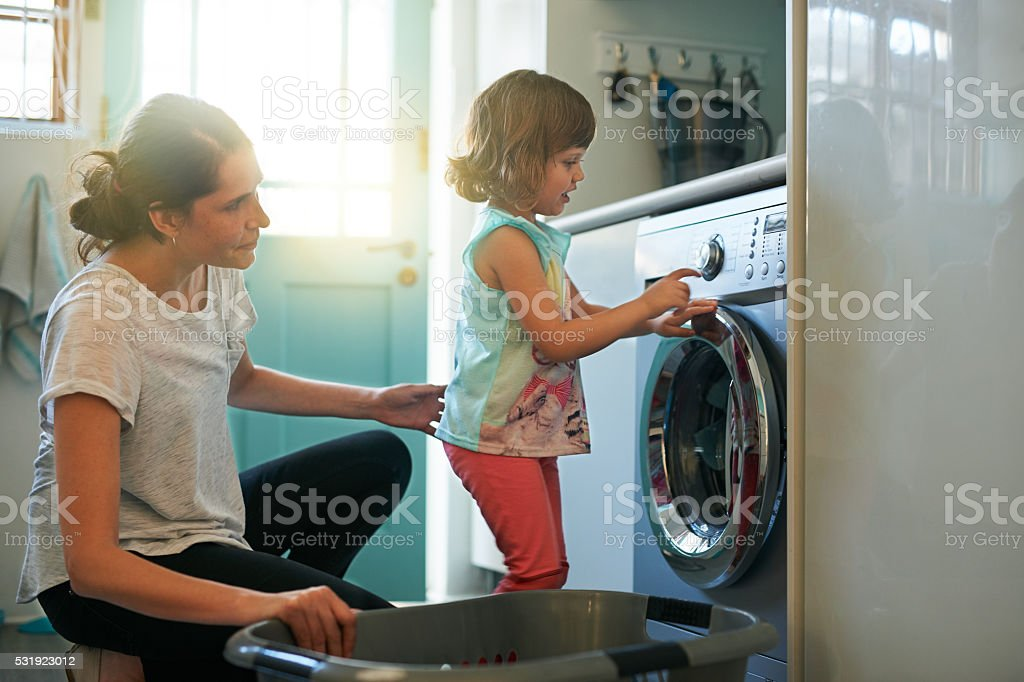 She knows which buttons to press stock photo