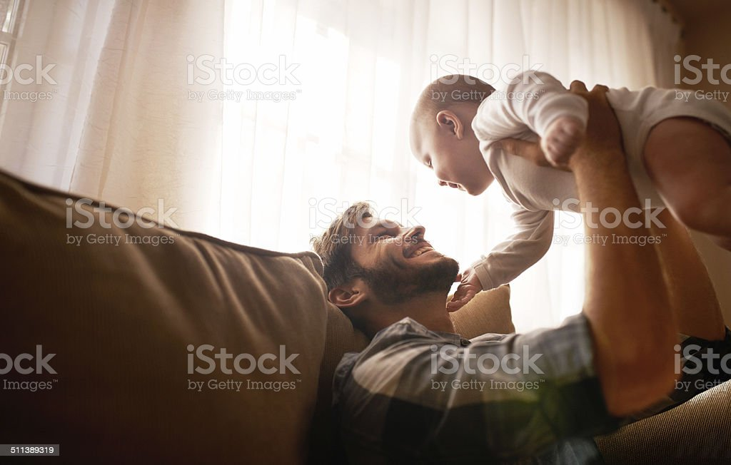 She lifts his spirits stock photo