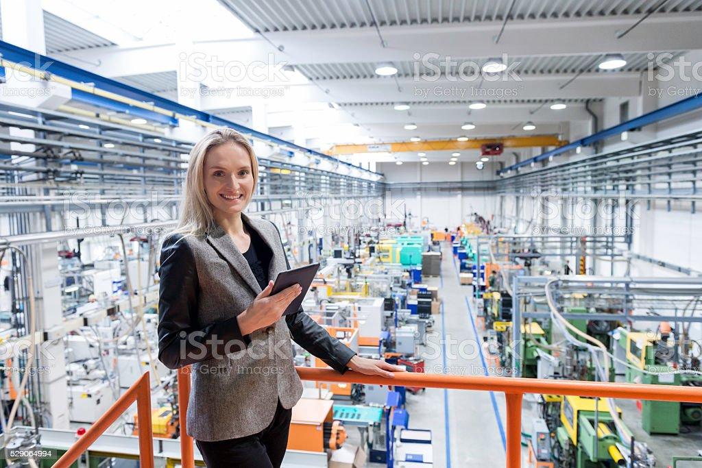 She likes her job! stock photo