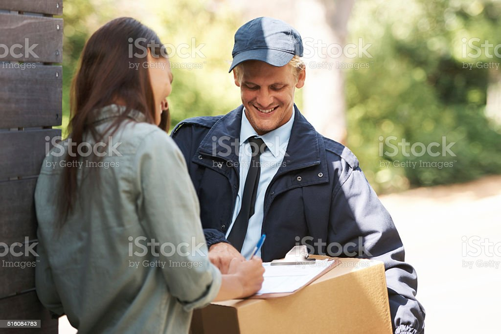 She likes his package stock photo