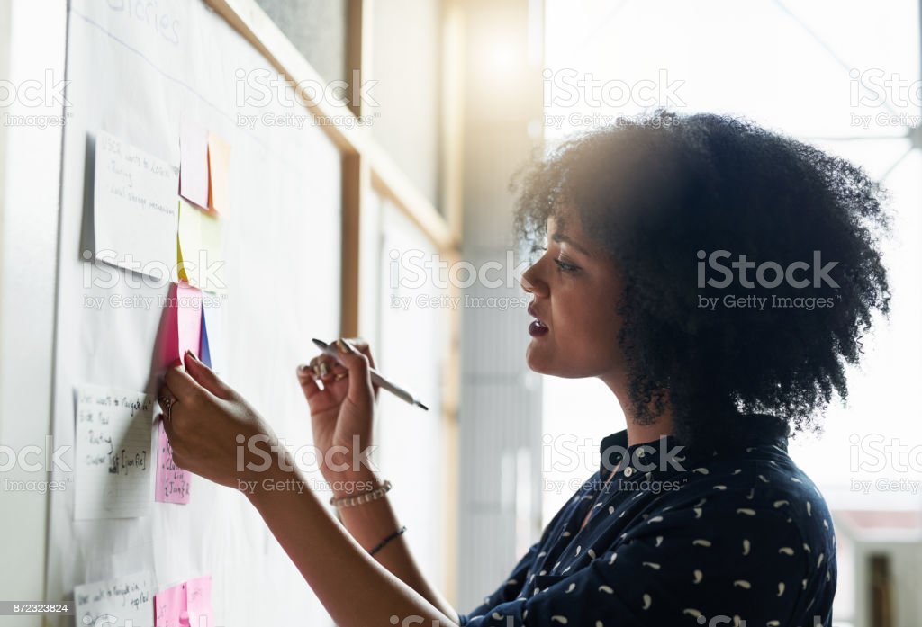 She likes to plan out her day stock photo