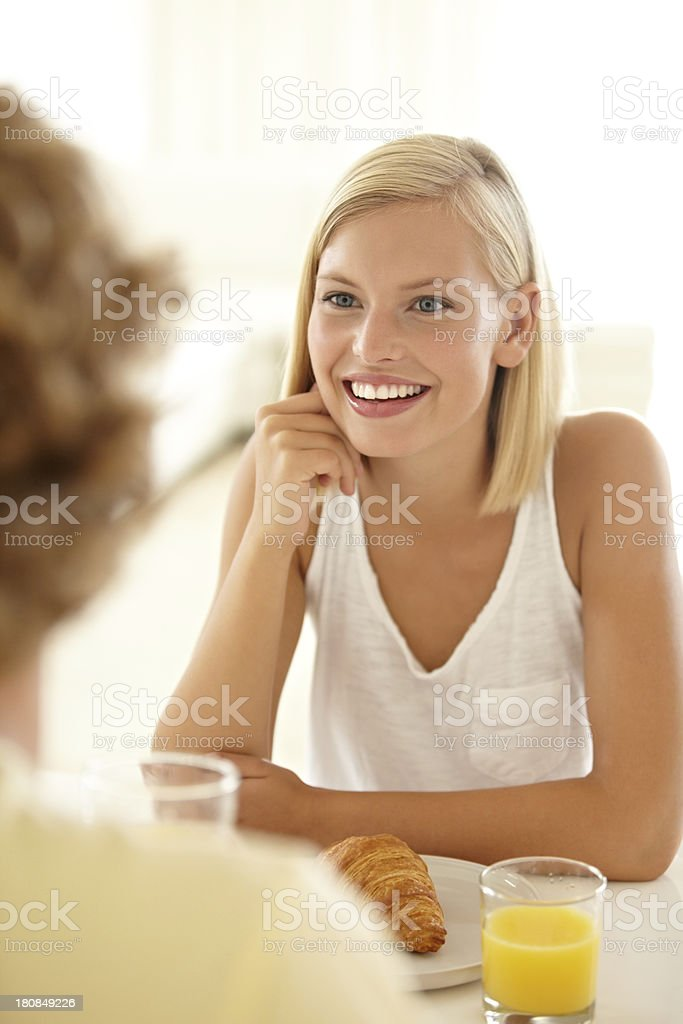She listens to his every word royalty-free stock photo