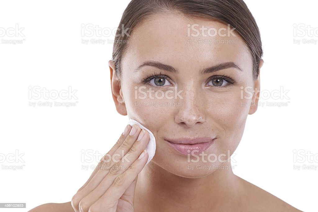 She looks after her skin royalty-free stock photo