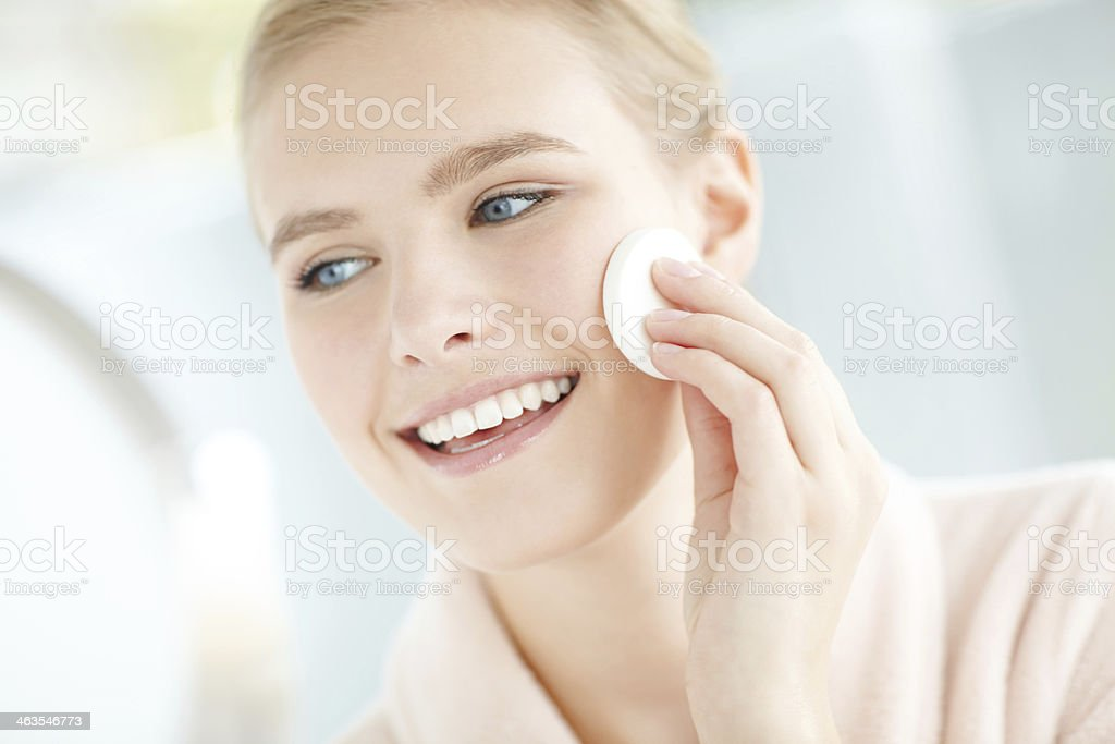 She looks after skin stock photo