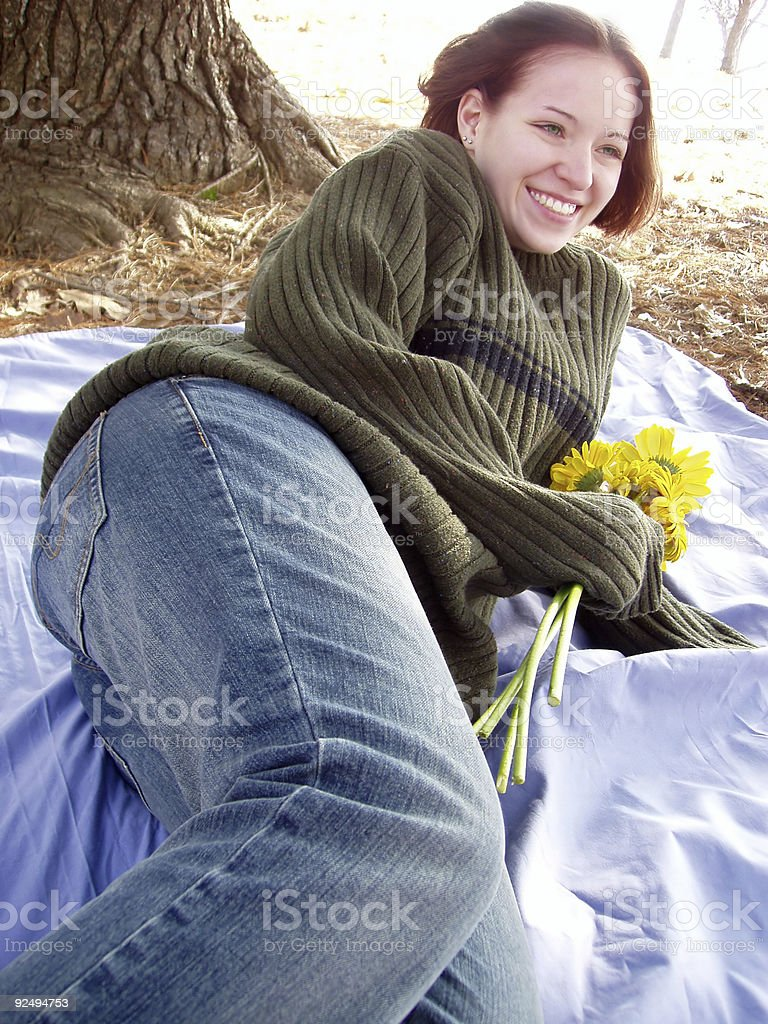 She loves her flowers royalty-free stock photo