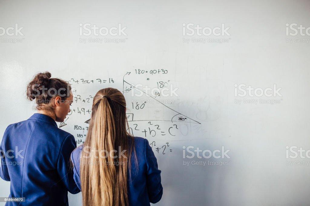 彼女は、数学を愛しています。 ストックフォト