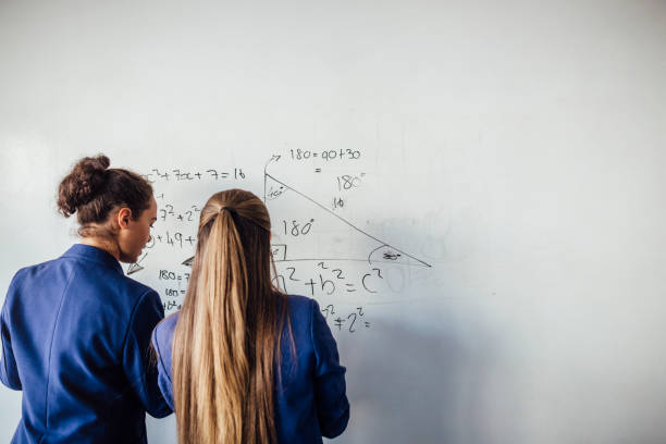 She loves Mathematics stock photo