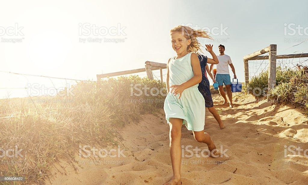 She loves the beach stock photo