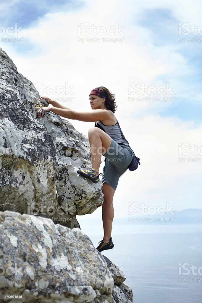 She loves the challenge! stock photo