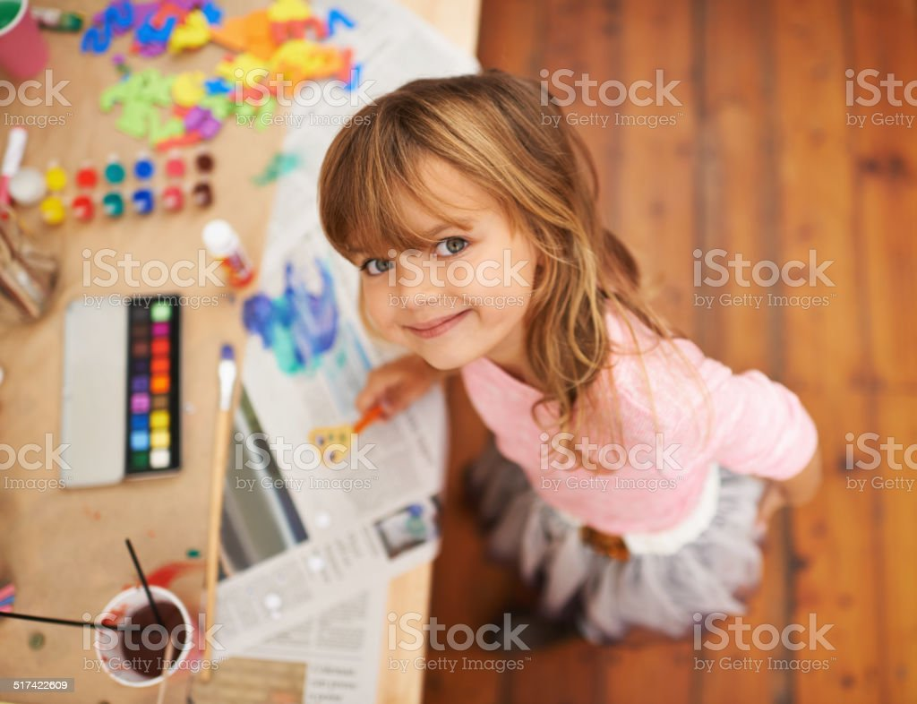 She loves to get crafty stock photo