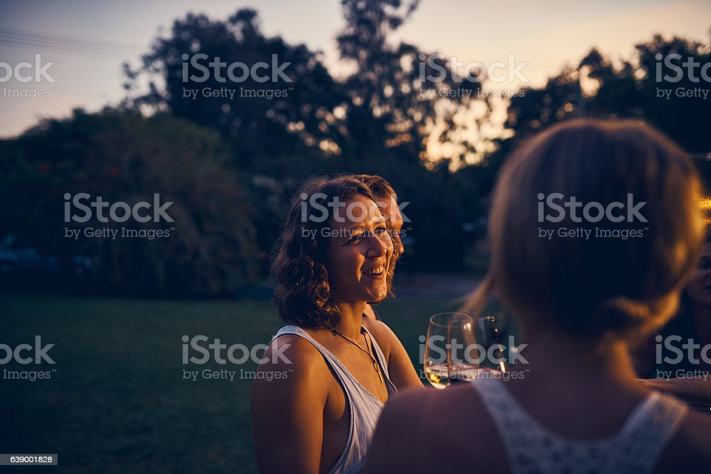 She loves to tell stories stock photo