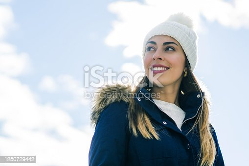 Young woman looking side and smiling