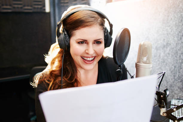 She makes a living with her voice stock photo