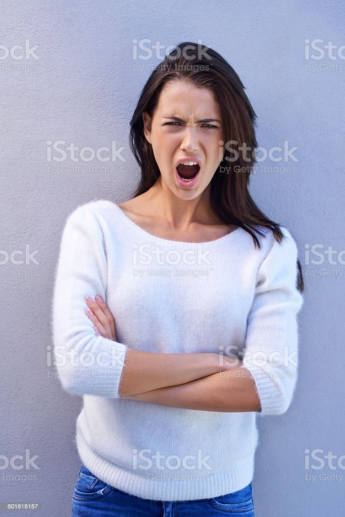 She makes pouting look pretty stock photo