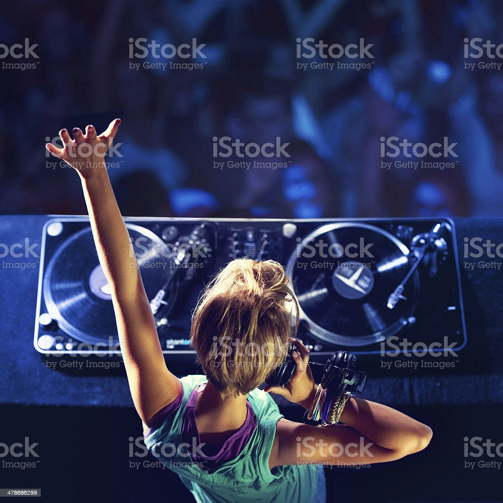 She makes the crowd go wild! stock photo
