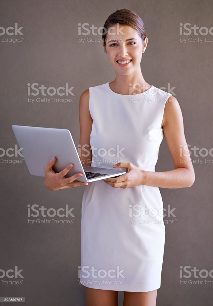 She never goes anywhere without it stock photo