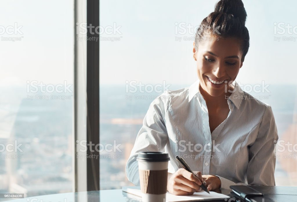 She never lets her paperwork pile up stock photo