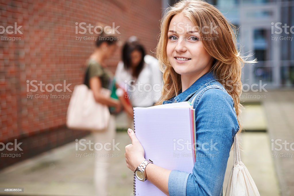 She never skip any lectures stock photo