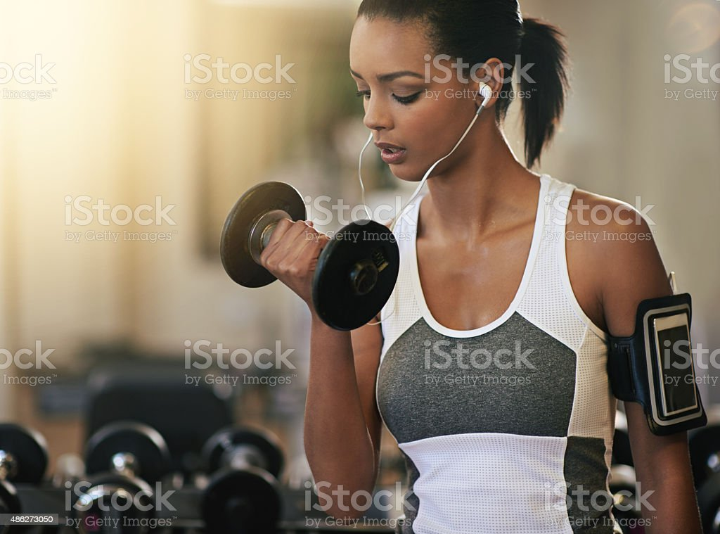She never skips a gym session stock photo