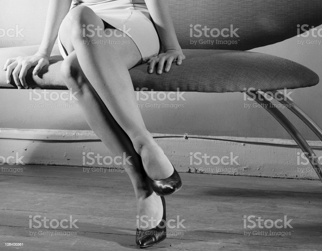 She on that sofa stock photo