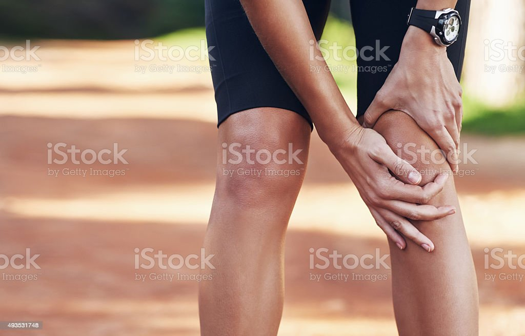 She overexerted herself on that run stock photo