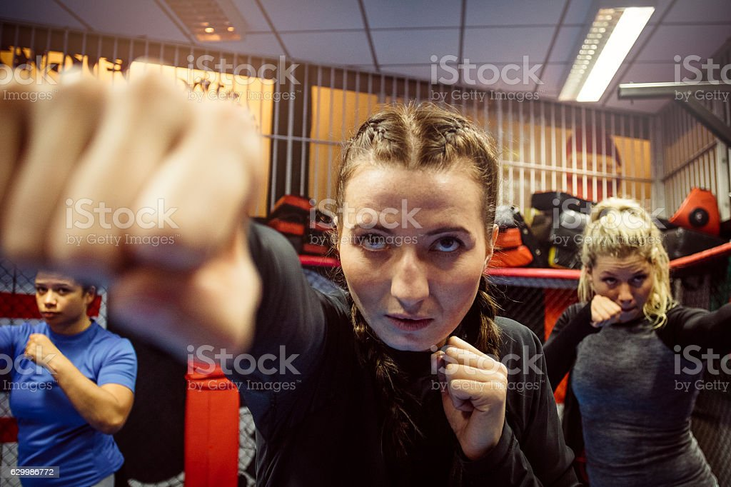 She Packs a Good Punch stock photo