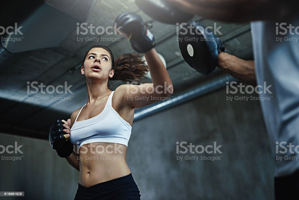 She packs a mean punch stock photo