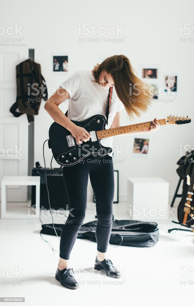 She plays for her love stock photo