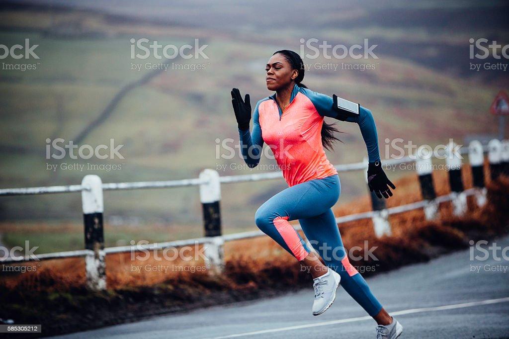She runs like the wind! stock photo