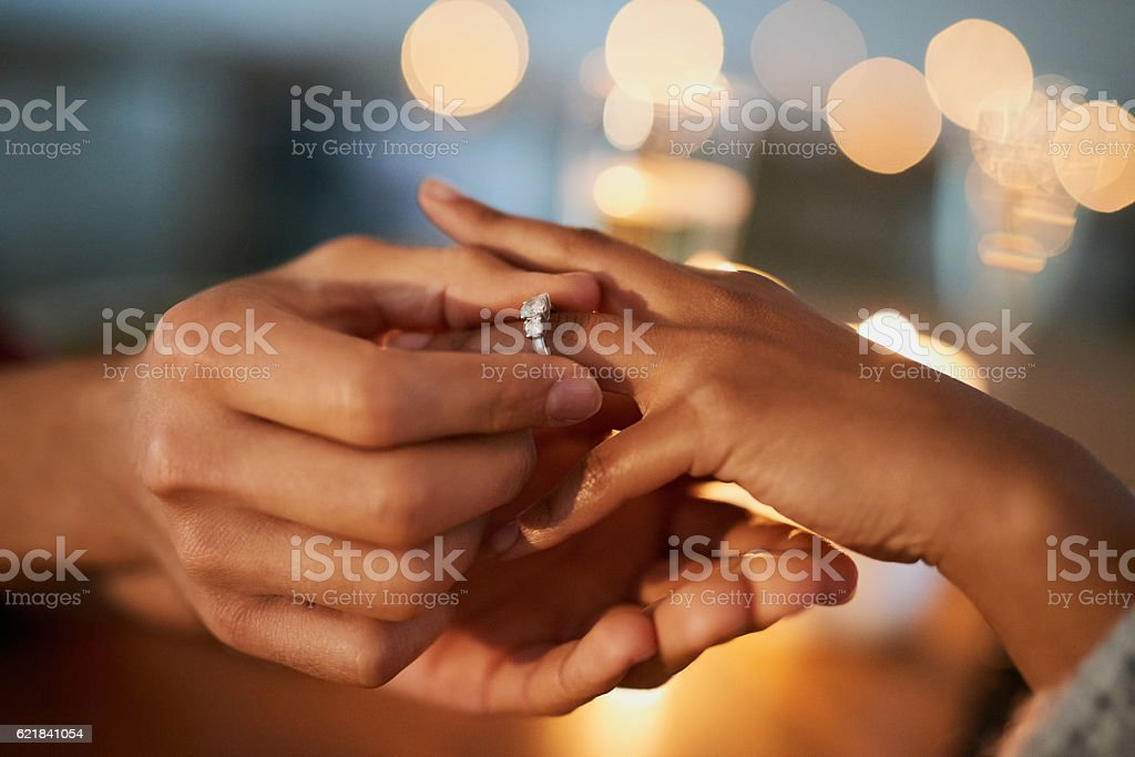 She said yes! stock photo