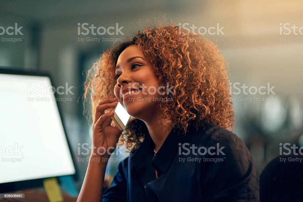 She stayed late to hear the good news first stock photo