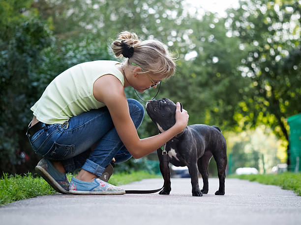She stroked the dog while walking. stock photo