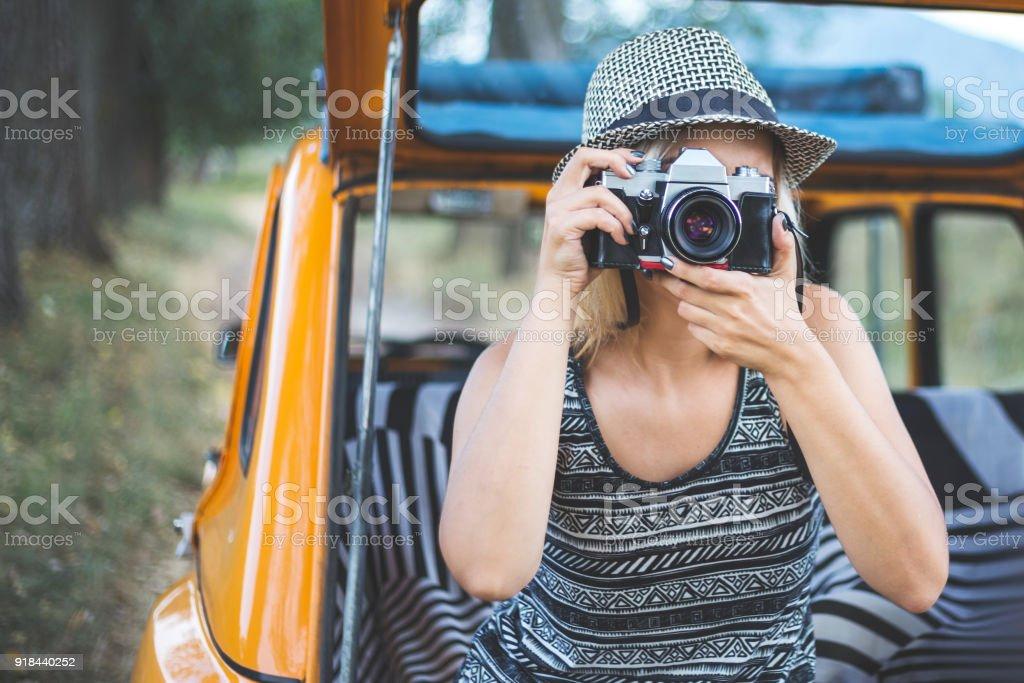 She takes beautiful photos stock photo