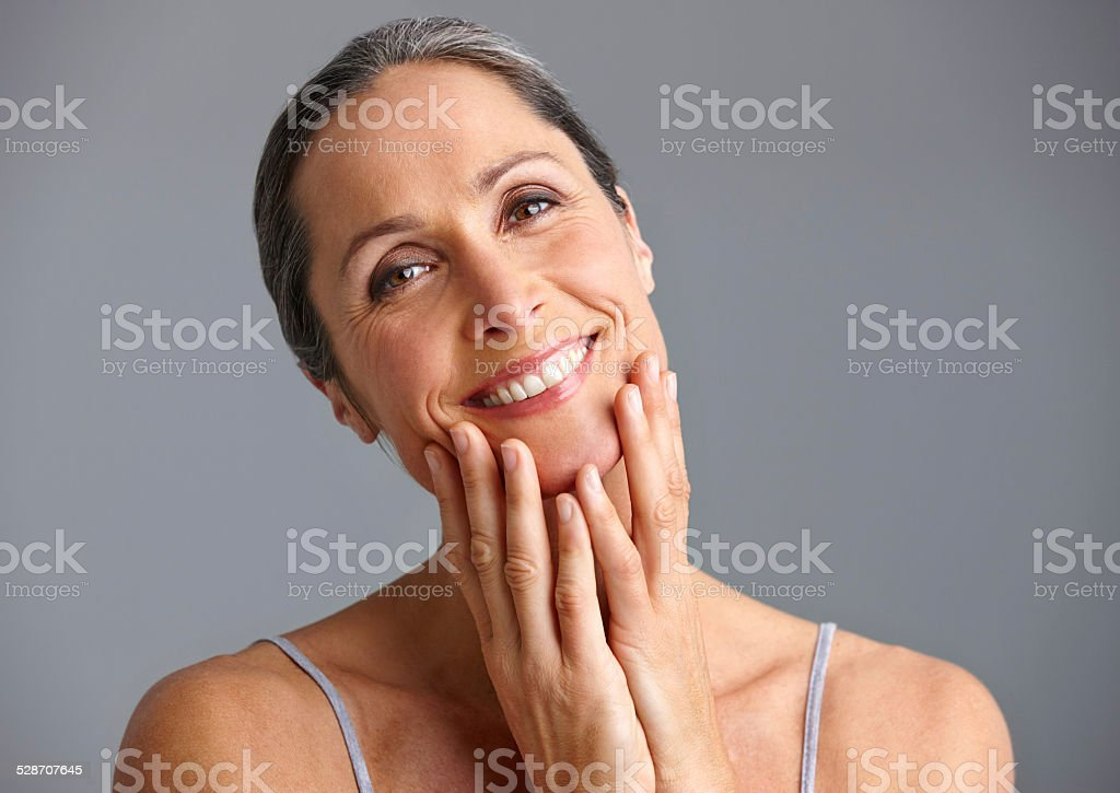 She takes good care of her skin stock photo